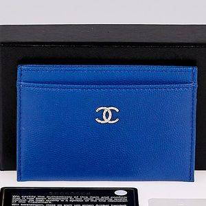 Chanel✨CC Blue Card Case wallet credit coin purse